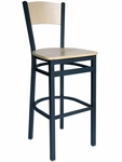 Dale Metal Frame Barstool - Wood Back and Seat [2150BW-NTSB-BFMS]