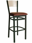 Dale Metal Frame Barstool - Natural Wood Back and Vinyl Seat [2150BBLV-BFMS]