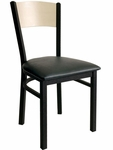 Dale Metal Frame Chair - Natural Wood Back and Vinyl Seat [2150CBLV-BFMS]