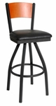 Dale Metal Frame Swivel Barstool - Solid Wood Back and Vinyl Seat [2150SBLV-BFMS]