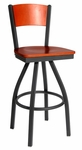 Dale Metal Frame Swivel Barstool - Solid Wood Back and Wood Seat [2150SW-BFMS]