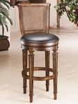 Dalton Wood 30'' Bar Height Stool with Black Leather Swivel Seat and Cane Back - Distressed Cherry [61909-FS-HILL]
