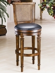 Dalton Wood 24'' Counter Height Stool with Black Leather Swivel Seat and Cane Back - Distressed Cherry [61908-FS-HILL]