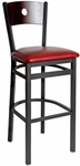 Darby Metal Frame Barstool - Circle Wood Back and Vinyl Seat [2152BBLV-SB-BFMS]