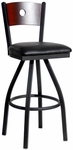 Darby Metal Frame Swivel Barstool - Circle Wood Back and Vinyl Seat [2152SBLV-SB-BFMS]