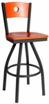 Darby Metal Frame Swivel Barstool - Circle Wood Back and Wood Seat [2152SW-SB-BFMS]