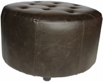 Dark Brown Arlington Round Ottoman [6666-DARKBROWN-FS-EHF]