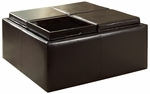 Dark Brown Vinyl Castered Storage Ottoman [468PU-3A-FS-HOM]
