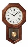 Dark Oak Octagonal Face with Pendulum Wall Clock [QXH102BC-FS-SEI]