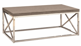 Reclaimed look and chrome metal 44 39 39 w x 16 39 39 h cocktail - Table basse taupe ...