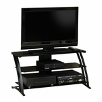 Deco Steel Frame Entertainment Center with Tempered Glass Shelves - Black [408559-FS-SRTA]