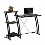 Deco Steel Frame 48''W x 36''H Tiered Laptop Desk with Tempered Glass Shelves - Black [408687-FS-SRTA]