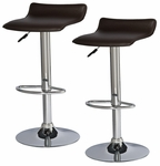 Deep Brown Adjustable Height Swivel Bar Stool - Set Of 2 [10042DB-FS-LCK]