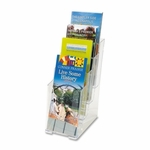 Deflect O Corporation 4 Tier Literature Holder - Leaflet - 4 7/8'' x 1'' x 12'' - Clear [DEF77701-FS-SP]