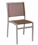 Delray Side Chair - Taupe Batyline Seats & Backs and Silver Frame [PH102CTPSV-BFMS]