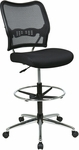 Space Deluxe Air Grid® Back Drafting Chair with Chrome Finish Footring and Base - Black [13-37P500D-FS-OS]