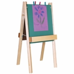 Deluxe Two Sided Foldable Chalkboard Easel with Solid Birch Plywood Legs and Trays - 26''W x 22''D x 48''H [18975-WDD]