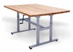 Deluxe Crank Butcher Block Work Table - 28''W X 60''L X 26 - 38''H [HAU-4325-FS-HAUS]