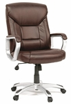 Deluxe Height Adjustable Leather Executive Chair with Casters - Brown [412075-FS-SRTA]