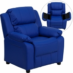 Deluxe Padded Contemporary Blue Vinyl Kids Recliner with Storage Arms [BT-7985-KID-BLUE-GG]