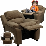 Deluxe Padded Contemporary Brown Microfiber Kids Recliner with Storage Arms [BT-7985-KID-MIC-BRN-GG]