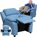 Deluxe Padded Contemporary Light Blue Vinyl Kids Recliner with Storage Arms [BT-7985-KID-LTBLUE-GG]