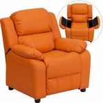 Deluxe Padded Contemporary Orange Vinyl Kids Recliner with Storage Arms [BT-7985-KID-ORANGE-GG]