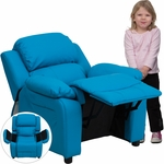 Deluxe Padded Contemporary Turquoise Vinyl Kids Recliner with Storage Arms [BT-7985-KID-TURQ-GG]