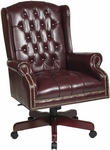 Work Smart Deluxe High Back Traditional Button Tufted Vinyl Executive Chair - Oxblood [TEX220-JT4-FS-OS]