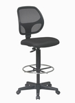 Work Smart Deluxe Mesh Back Drafting Chair with Adjustable Foot Ring - Black [DC2990-FS-OS]