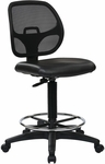 Work Smart Deluxe Mesh Back Vinyl Seat Drafting Chair with Adjustable Foot Ring and Seat Height Adjustment - Black [DC2990V-FS-OS]
