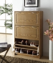 Deluxe Double Shoe Cabinet - Oak