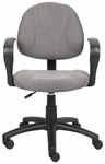 Deluxe Thick Padded Posture Chair with Lumbar Support and Loop Arms - Grey [B317-GY-FS-BOSS]