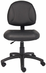 Deluxe Armless LeatherPlus Posture Task Chair with Seat Height Adjustment - Black [B305-FS-BOSS]