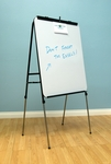 Deluxe Height Adjustable 28''W x 20''D Presentation Easel with Wet and Dry Erase Surface- Black [13186-FS-SDI]