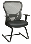 Space Deluxe R2 SpaceGrid® Back Visitors Chair with Fixed Arms and Bonded Leather Seat - Black [529-E3R2V30-FS-OS]