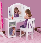 Kids Deluxe Vanity with Adjustable 3-Way Mirror,Storage and Chair - White [13018-FS-KK]