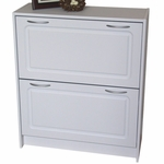 Deluxe Wood Double Tier Shoe Cabinet - White [76455-FS-DCON]