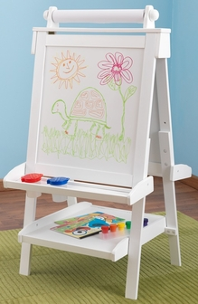 Kids Deluxe Double Sided Wood Art Easel With Paper Roll