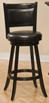 Dennery Wood 24'' Counter Height Stool with Black Vinyl Swivel Seat - Black [4472-827-FS-HILL]