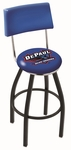 DePaul University 25'' Black Wrinkle Finish Swivel Counter Height Stool with Cushioned Back [L8B425DEPAUL-FS-HOB]