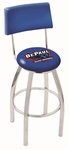 DePaul University 25'' Chrome Finish Swivel Counter Height Stool with Cushioned Back [L8C425DEPAUL-FS-HOB]