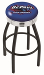 DePaul University 25'' Black Wrinkle Finish Swivel Backless Counter Height Stool with Ribbed Accent Ring [L8B3C25DEPAUL-FS-HOB]