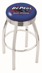 DePaul University 25'' Chrome Finish Swivel Backless Counter Height Stool with 2.5'' Ribbed Accent Ring [L8C3C25DEPAUL-FS-HOB]