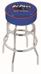 DePaul University 25'' Chrome Finish Double Ring Swivel Backless Counter Height Stool with 4'' Thick Seat [L7C125DEPAUL-FS-HOB]
