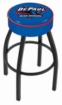 DePaul University 25'' Black Wrinkle Finish Swivel Backless Counter Height Stool with 4'' Thick Seat [L8B125DEPAUL-FS-HOB]