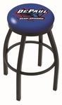 DePaul University 25'' Black Wrinkle Finish Swivel Backless Counter Height Stool with Accent Ring [L8B2B25DEPAUL-FS-HOB]