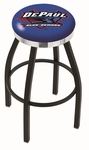 DePaul University 25'' Black Wrinkle Finish Swivel Backless Counter Height Stool with Chrome Accent Ring [L8B2C25DEPAUL-FS-HOB]