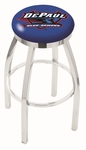 DePaul University 25'' Chrome Finish Swivel Backless Counter Height Stool with Accent Ring [L8C2C25DEPAUL-FS-HOB]