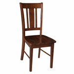 San Remo Solid Parawood Armless Slat Back 38.19''H Dining Chair - Espresso [C581-10-FS-WHT]